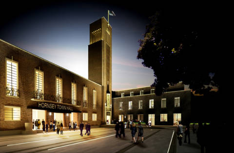 Hornsey Town Hall exterior render