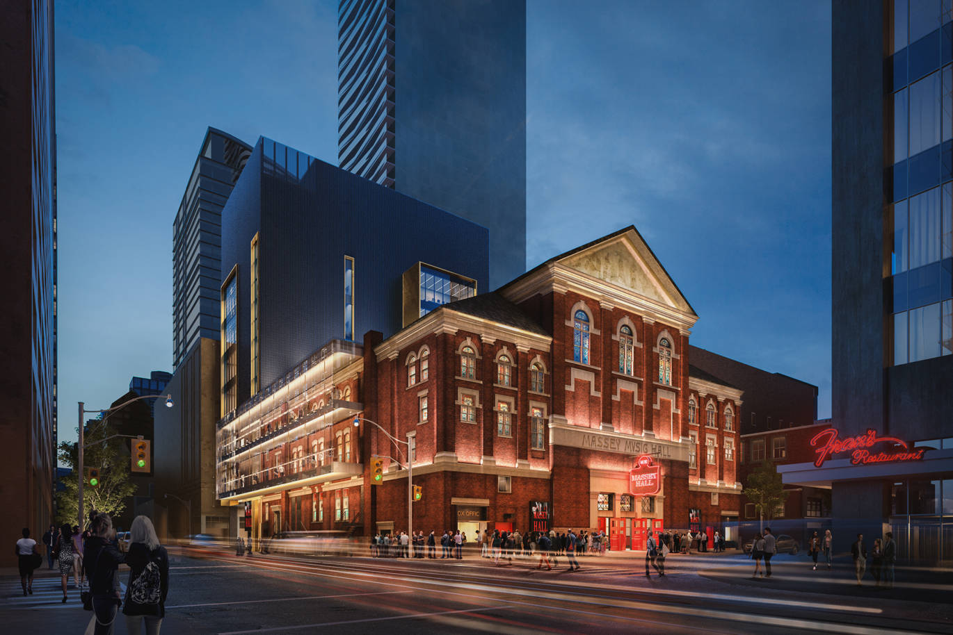 Revitalized Massey Hall exterior facade